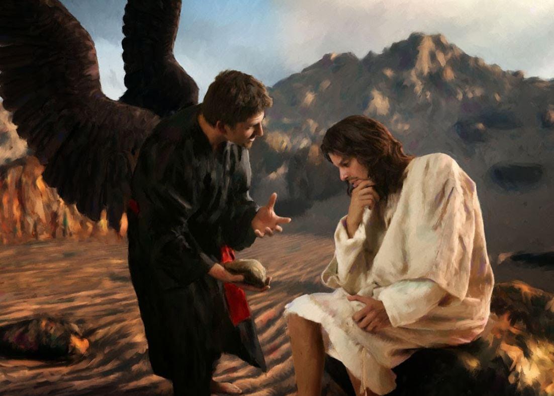 Jesús es tentado por Satanás en eldesierto